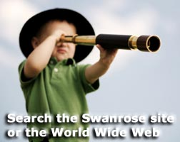 boy with telescope searching Swanrose and the World Wide Web